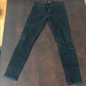 Black Biker Distressed Jeans